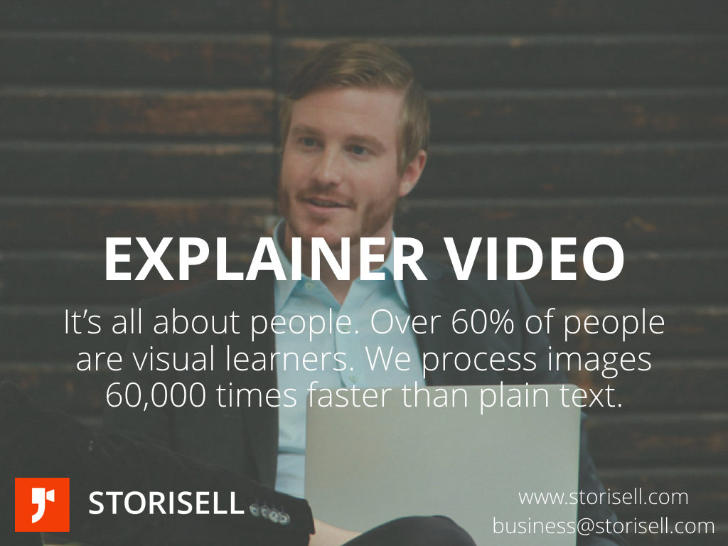 Storisell Explainer Video Company Explainer Video Production Explainer Video Melbourne Explainer Video Sydney Explainer Video Perth Explainer Video Brisbane Australia.jpeg.007 Storisell Explainer Video Company Explainer Video Production Explainer Video Melbourne Explainer Video Sydney Explainer Video Perth Explainer Video Brisbane Australia.jpeg.007 Storisell Explainer Video Company. It's all about people. Over 60% of people are visual learners. We process images 60,000 times faster than plain text. Learn more about our explainer video production services. www.storisell.com Project: Storisell Explainer Video Company Explainer Video Production Explainer Video Melbourne Explainer Video Sydney Explainer Video Perth Explainer Video Brisbane Australia